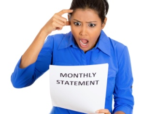woman disgusted at monthly statement