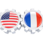 American and french flags on  gears.
