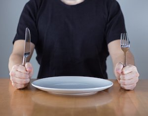sitting at dinner table