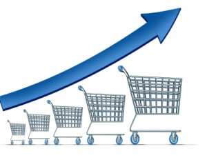 Online sales increase concept