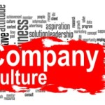 Company culture word cloud with red banner