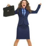 Happy business woman jumping with briefcase