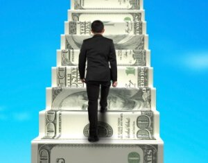 climbing money stairs