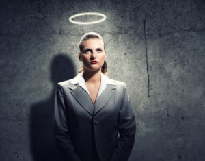 Businesswoman with halo over her head