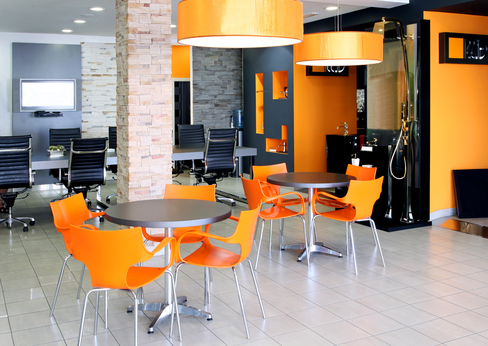 Nice Modern Office Space With Bright Orange Furniture