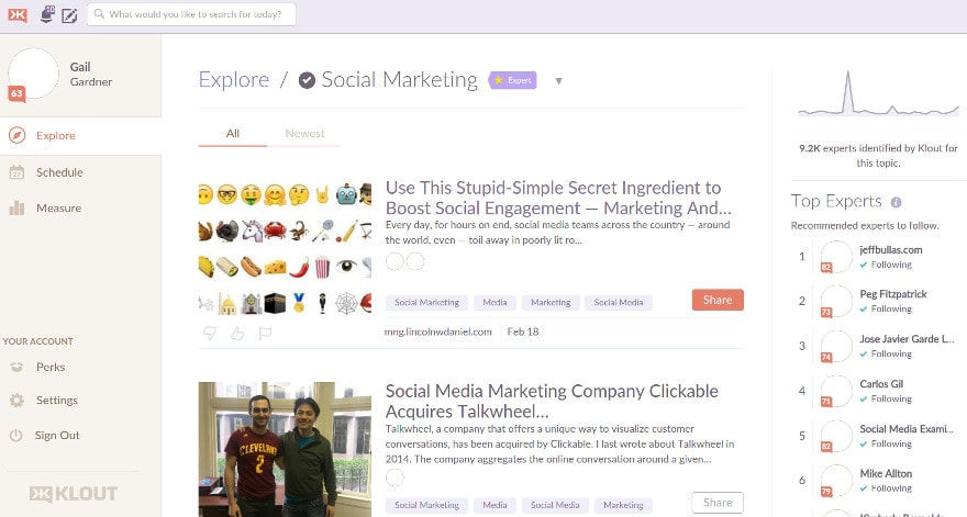Klout for identifying influencers