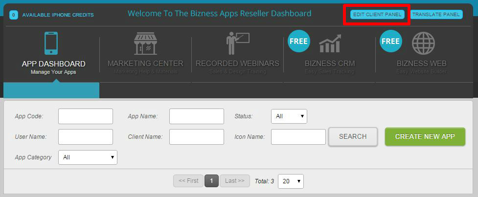 Screenshot of Bizness Apps client dashboard for creating and managing mobile apps.