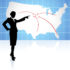 businesswoman pointing at US map