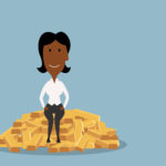 Businesswoman sitting on heap of gold bars