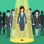 Businesswoman in spotlight