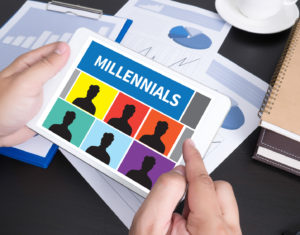 MILLENNIALS Modern people doing business, graphs and charts and touch-pad