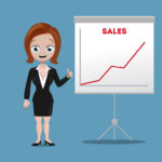 Businesswoman with growing sales chart