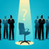Businessmen standing with empty chair
