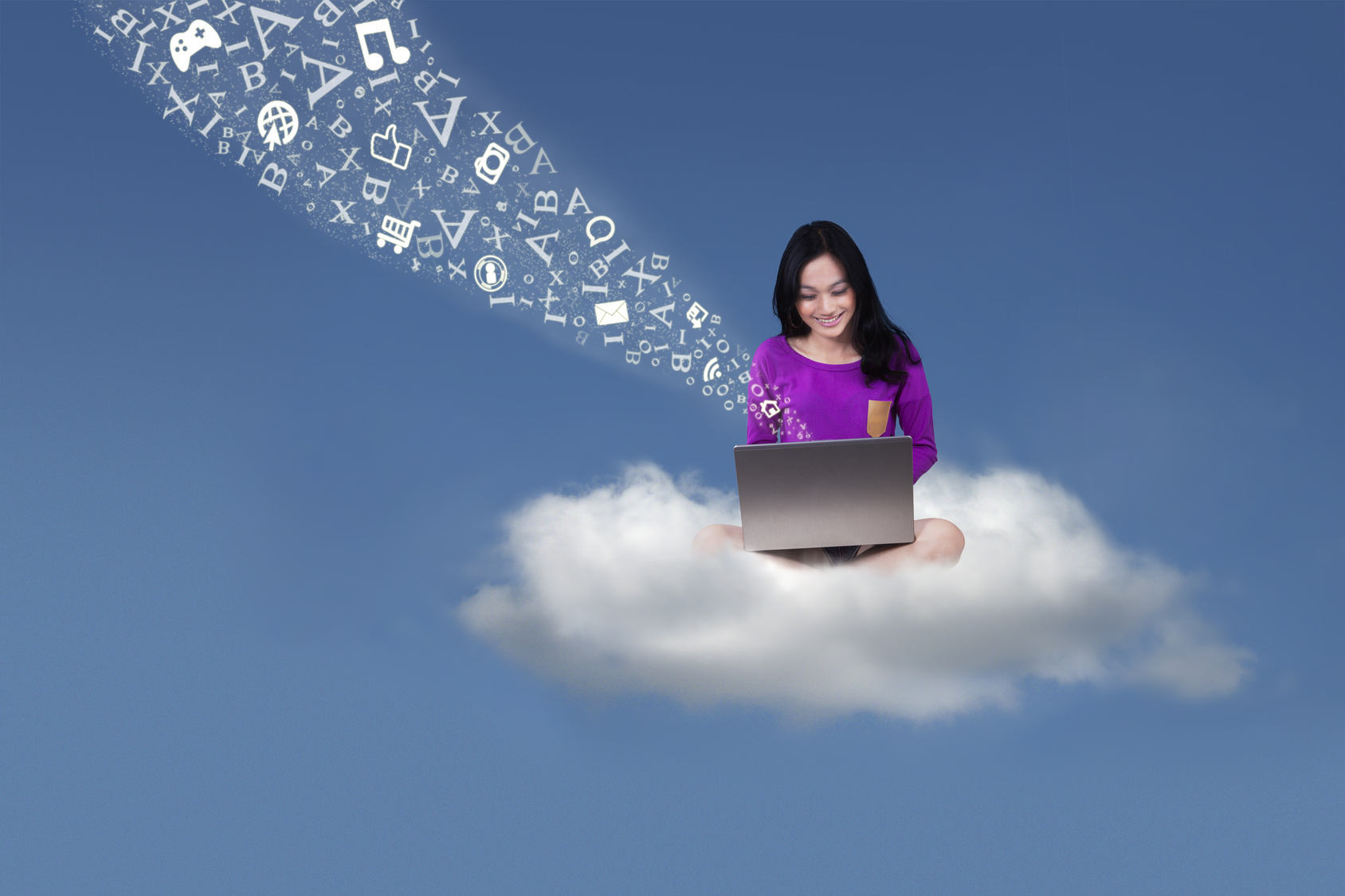 student with laptop on the cloud