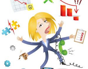 Businesswoman, losing control, multitasking