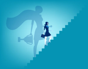 Businesswoman and stairway to success