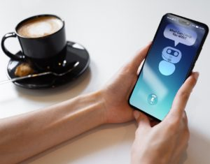 Customer and chatbot dialogue on the Smartphone screen