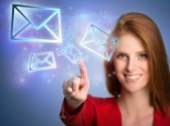 Woman-pressing-virtual-email-icons