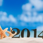2014 letters with starfish, ocean , beach