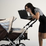 businesswoman with baby stroller