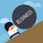 "cartoon of man pushing rock labeled ""business"" uphill"